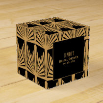 Gold and Black Art Deco Pattern Bridal Shower Favor Box
