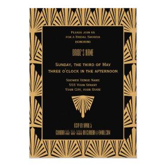 Gold and Black Art Deco Pattern Bridal Shower 5x7 Paper Invitation Card