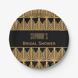 Gold and Black Art Deco Pattern Bridal Shower Paper Plate