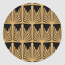 Gold and Black Art Deco Pattern Classic Round Sticker