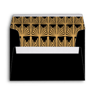 Gold and Black Art Deco Pattern Envelope