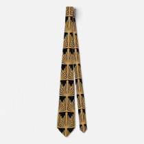 Gold and Black Art Deco Pattern Neck Tie
