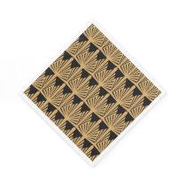 Gold and Black Art Deco Pattern Paper Napkin