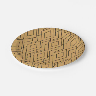 Gold and Black Art Deco Pattern Paper Plate