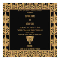 Gold and Black Art Deco Pattern Rehearsal Dinner Card