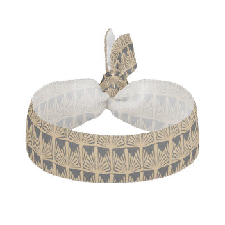 Gold and Black Art Deco Pattern Ribbon Hair Tie
