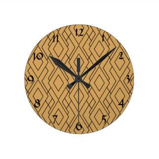 Gold and Black Art Deco Pattern Round Clock