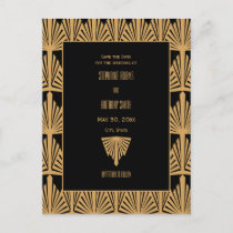 Gold and Black Art Deco Pattern Save the Date Announcement Postcard