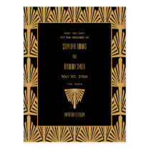 Gold and Black Art Deco Pattern Save the Date Postcard