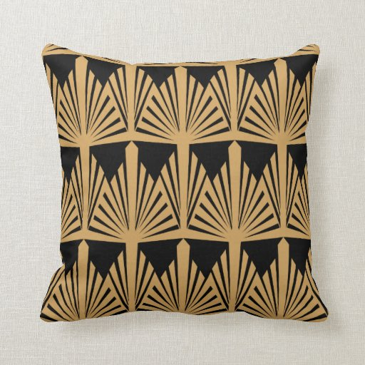 Gold And Black Art Deco Pattern Throw Pillow Zazzle