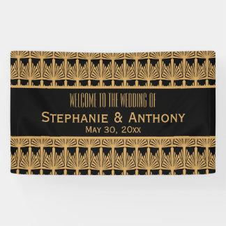Gold and Black Art Deco Pattern Wedding Banner