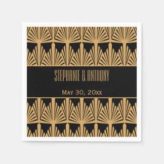 Gold and Black Art Deco Pattern Wedding Paper Napkin