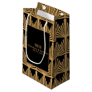 Gold and Black Art Deco Pattern Wedding Thank You Small Gift Bag