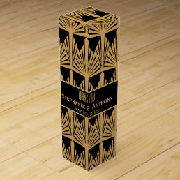 Gold and Black Art Deco Pattern Wedding Thank You Wine Gift Box