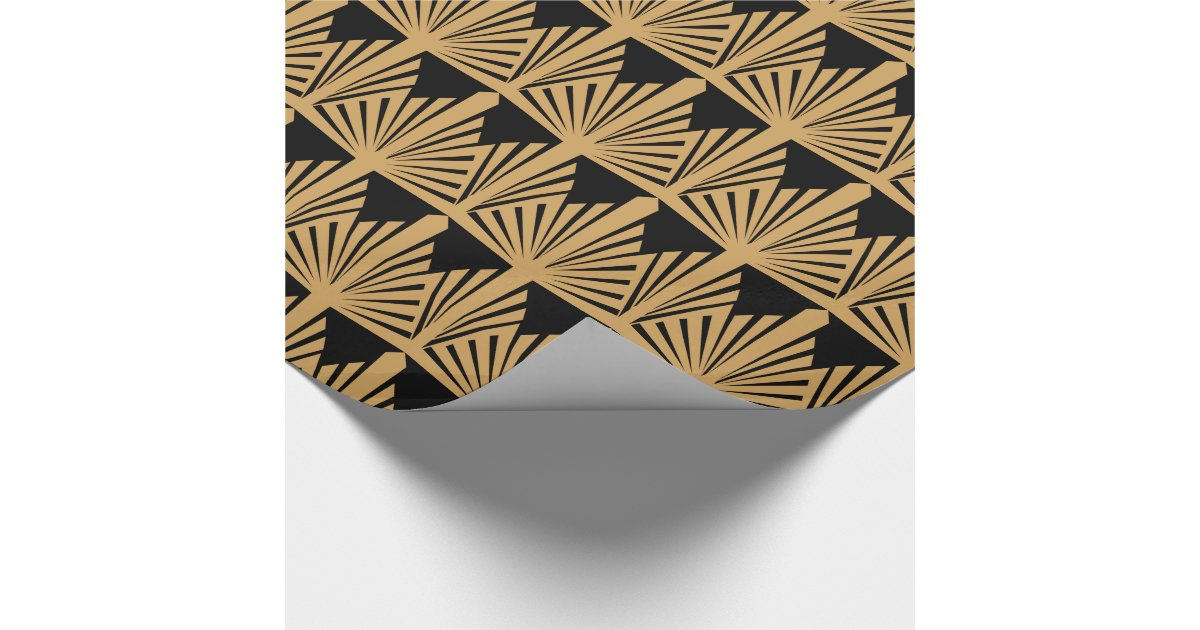 gold and black art deco pattern wrapping paper zazzle. Black Bedroom Furniture Sets. Home Design Ideas