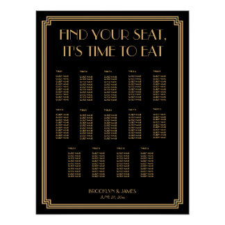 Gold And Black Art Deco Wedding Seating Chart