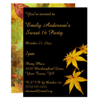 Gold and Black Autumn Sweet 16 Birthday Card