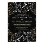 Gold and Black Baby's Breath Engagement Party Card