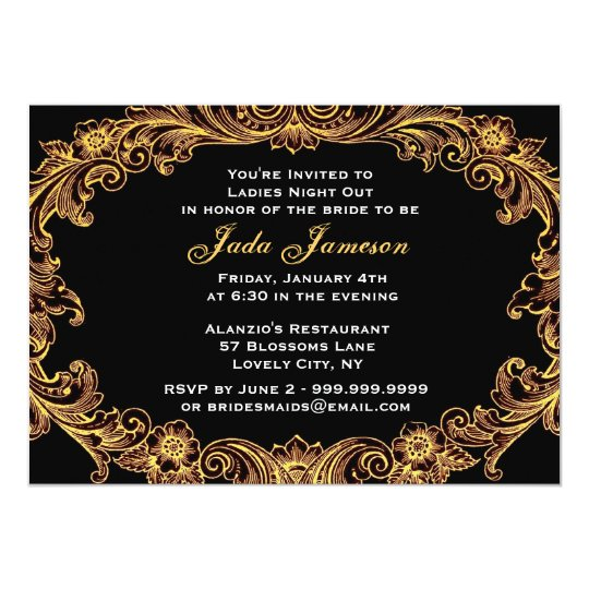 Gold and Black Baroque Ladies Night Out V004 Card