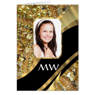 Gold and black bling card