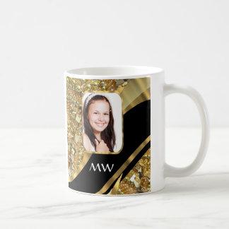 Gold and black bling coffee mug