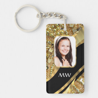Gold and black bling keychain
