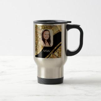 Gold and black bling travel mug