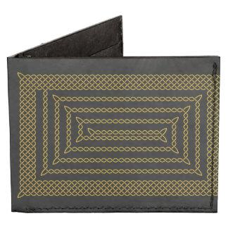 Gold And Black Celtic Rectangular Spiral Billfold Wallet
