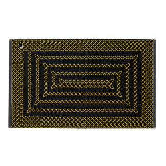 Gold And Black Celtic Rectangular Spiral iPad Folio Case