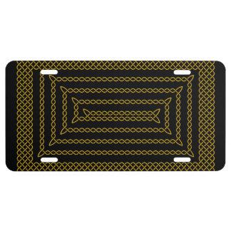 Gold And Black Celtic Rectangular Spiral License Plate