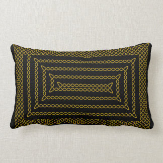 Gold And Black Celtic Rectangular Spiral Lumbar Pillow
