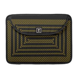 Gold And Black Celtic Rectangular Spiral Sleeve For MacBook Pro