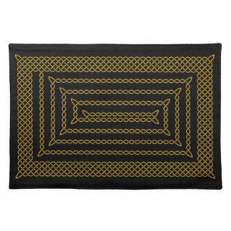 Gold And Black Celtic Rectangular Spiral Place Mats