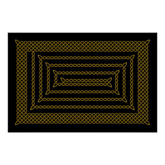 Gold And Black Celtic Rectangular Spiral Poster