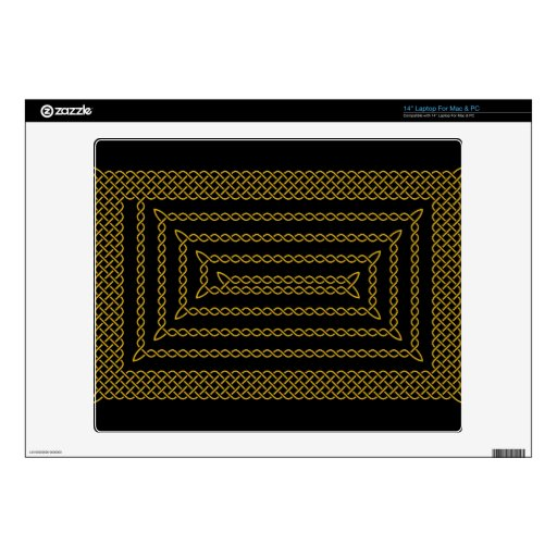 "Gold And Black Celtic Rectangular Spiral Decal For 14"" Laptop"