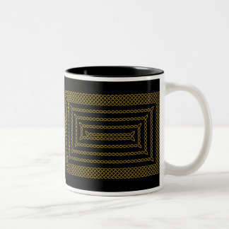 Gold And Black Celtic Rectangular Spiral Two-Tone Coffee Mug