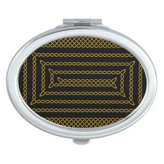 Gold And Black Celtic Rectangular Spiral Vanity Mirror
