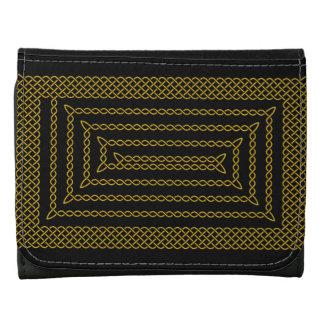 Gold And Black Celtic Rectangular Spiral Wallets