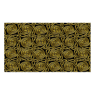 Gold And Black Celtic Spiral Knots Pattern Business Card