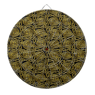 Gold And Black Celtic Spiral Knots Pattern Dartboard With Darts