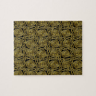Gold And Black Celtic Spiral Knots Pattern Jigsaw Puzzle