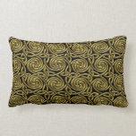 Gold And Black Celtic Spiral Knots Pattern Lumbar Pillow