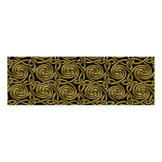 Gold And Black Celtic Spiral Knots Pattern Mini Business Card