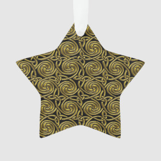Gold And Black Celtic Spiral Knots Pattern Ornament