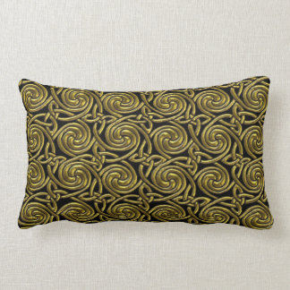 Gold And Black Celtic Spiral Knots Pattern Throw Pillow