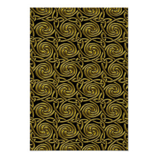 Gold And Black Celtic Spiral Knots Pattern Poster
