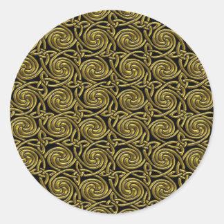 Gold And Black Celtic Spiral Knots Pattern Round Sticker