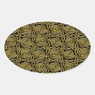 Gold And Black Celtic Spiral Knots Pattern Oval Sticker