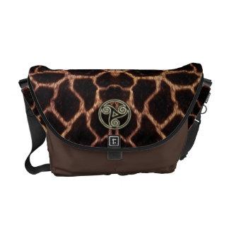 Gold and Black Celtic Triple Spiral Giraffe Skin Messenger Bag
