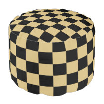 Gold and Black Checked Bean Chair Pouf